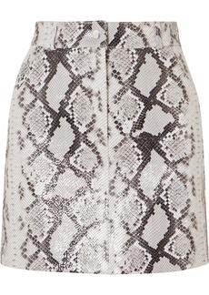 Maje Snake-print Leather Mini Skirt