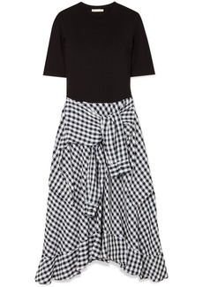Maje Stretch-jersey And Cotton-blend Gingham Dress