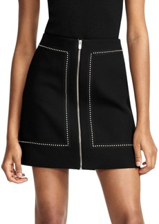 Maje Studded-Trim A-Line Skirt