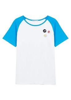 Maje Talon Button-Accent Cotton T-Shirt