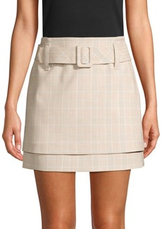 Maje Tiered Check Belted A-Line Skirt