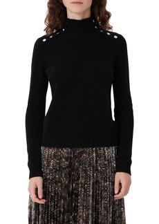 Women's Maje Button Shoulder Cashmere Sweater