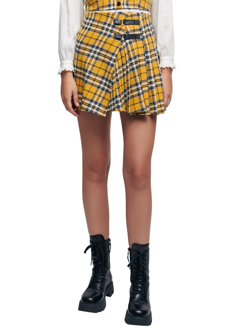 Women's Maje Joris Plaid Pleated Cotton Skirt