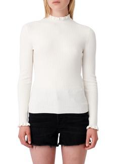Women's Maje Ruffle Ribbed Sweater