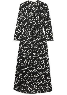 Maje Wrap-effect Floral-print Crepe De Chine Midi Dress