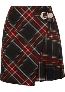 Maje Wrap-effect Tartan Twill Mini Skirt