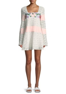 Majorelle Embroidered Lace Shift Dress