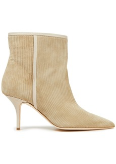 Malone Souliers Woman Dilara 70 Ribbed Suede Ankle Boots Beige