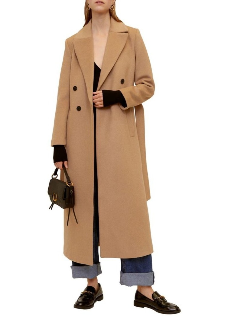 Mango Belted Double-Breasted Wool-Blend Coat