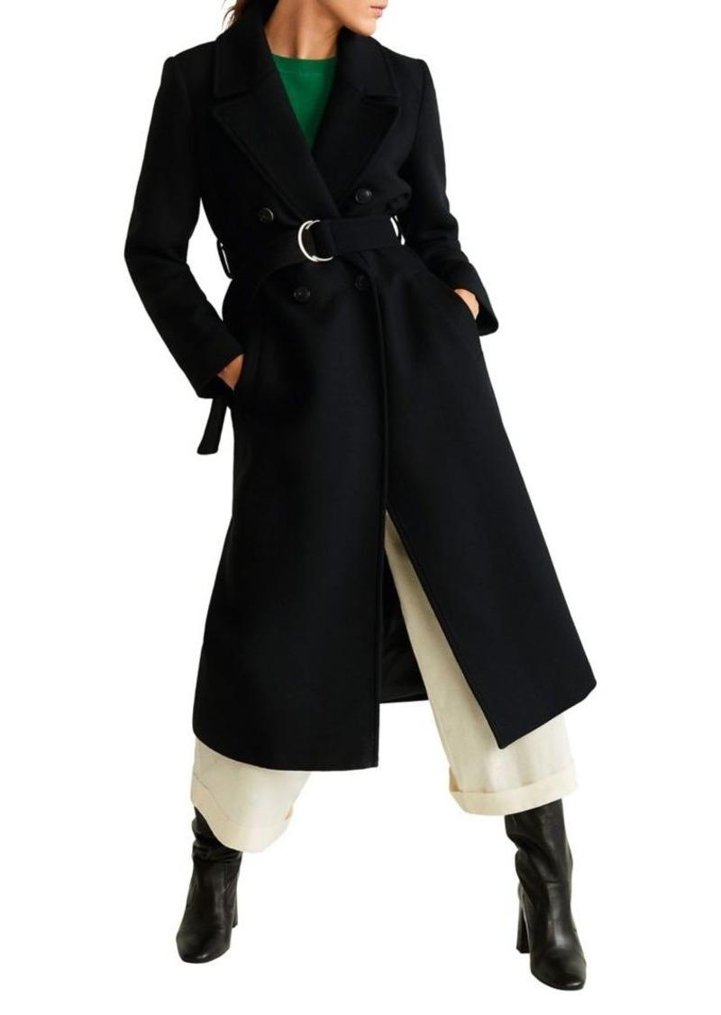 Mango Belted Wool-Blend Coat