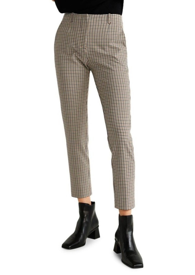 Mango Checkered-Print Cropped Pants