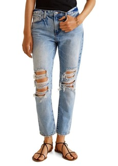 Mango Distressed Relaxed-Fit Cropped Jeans