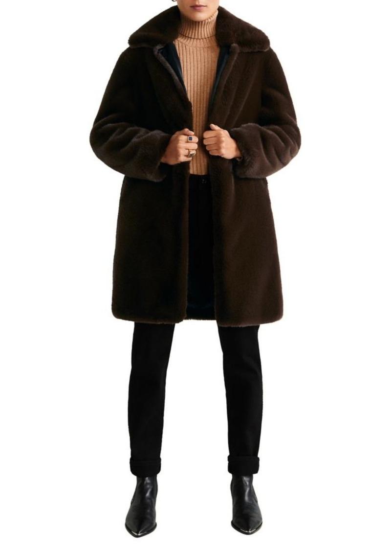 Mango Faux-Fur Button Coat