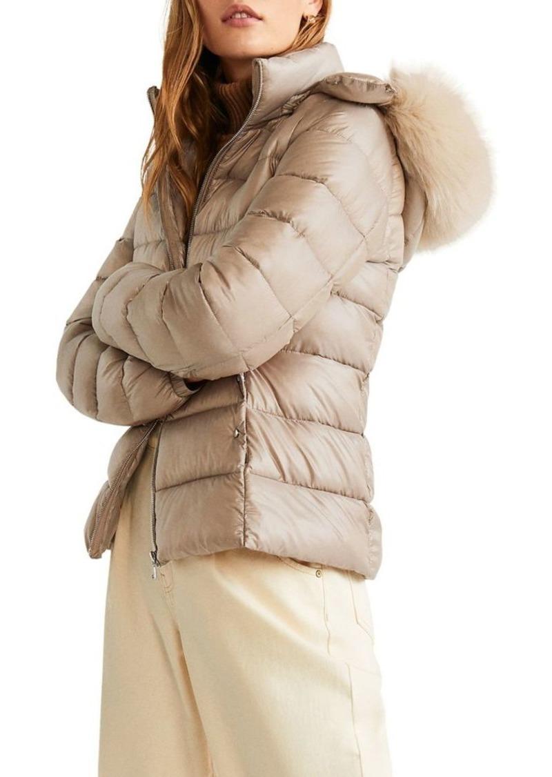 Mango Faux-Fur Puffer Coat
