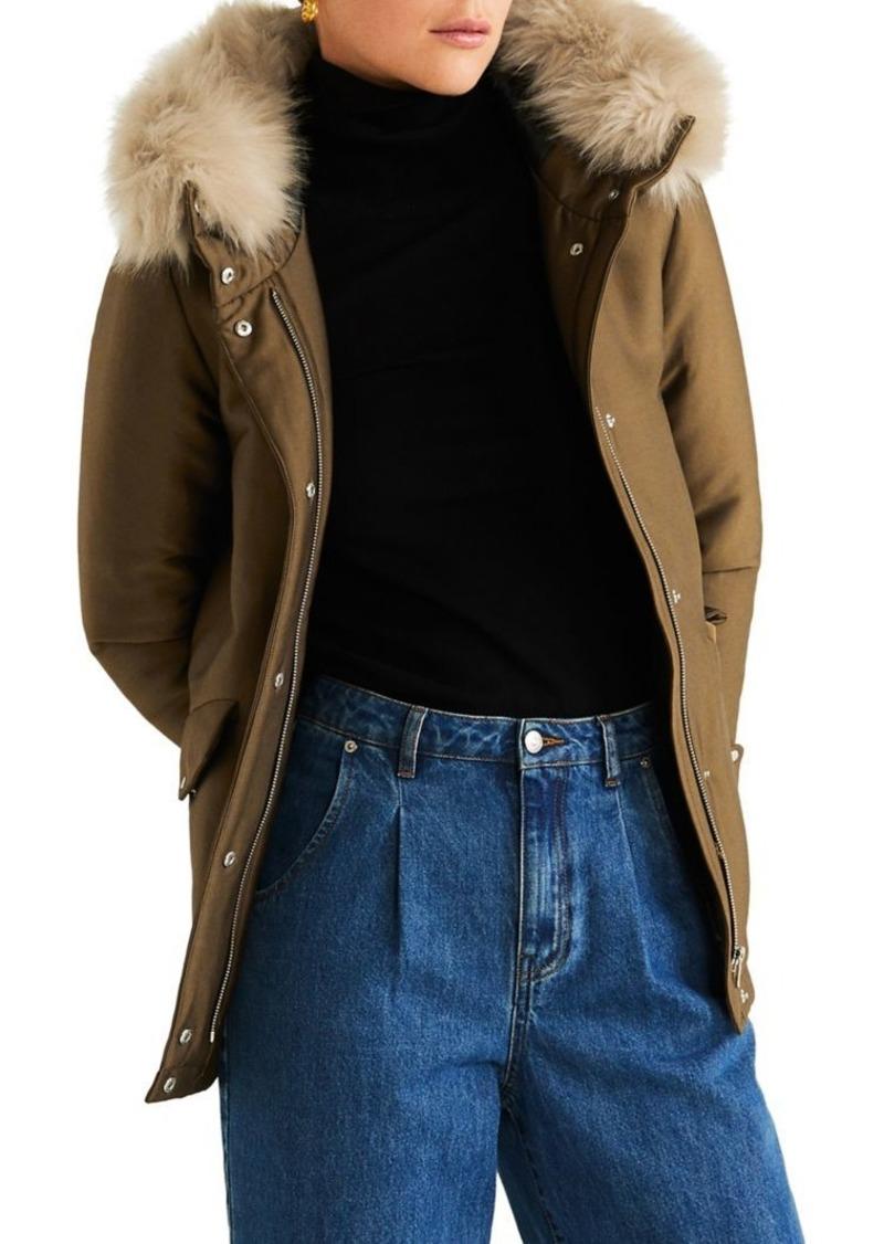 Mango Faux Fur-Trim Hooded Jacket