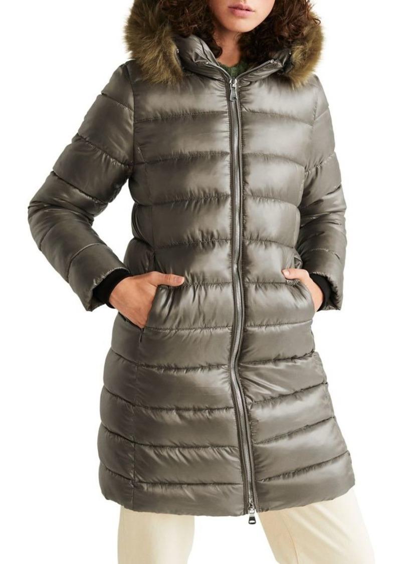 Mango Faux Fur-Trim Puffer Coat