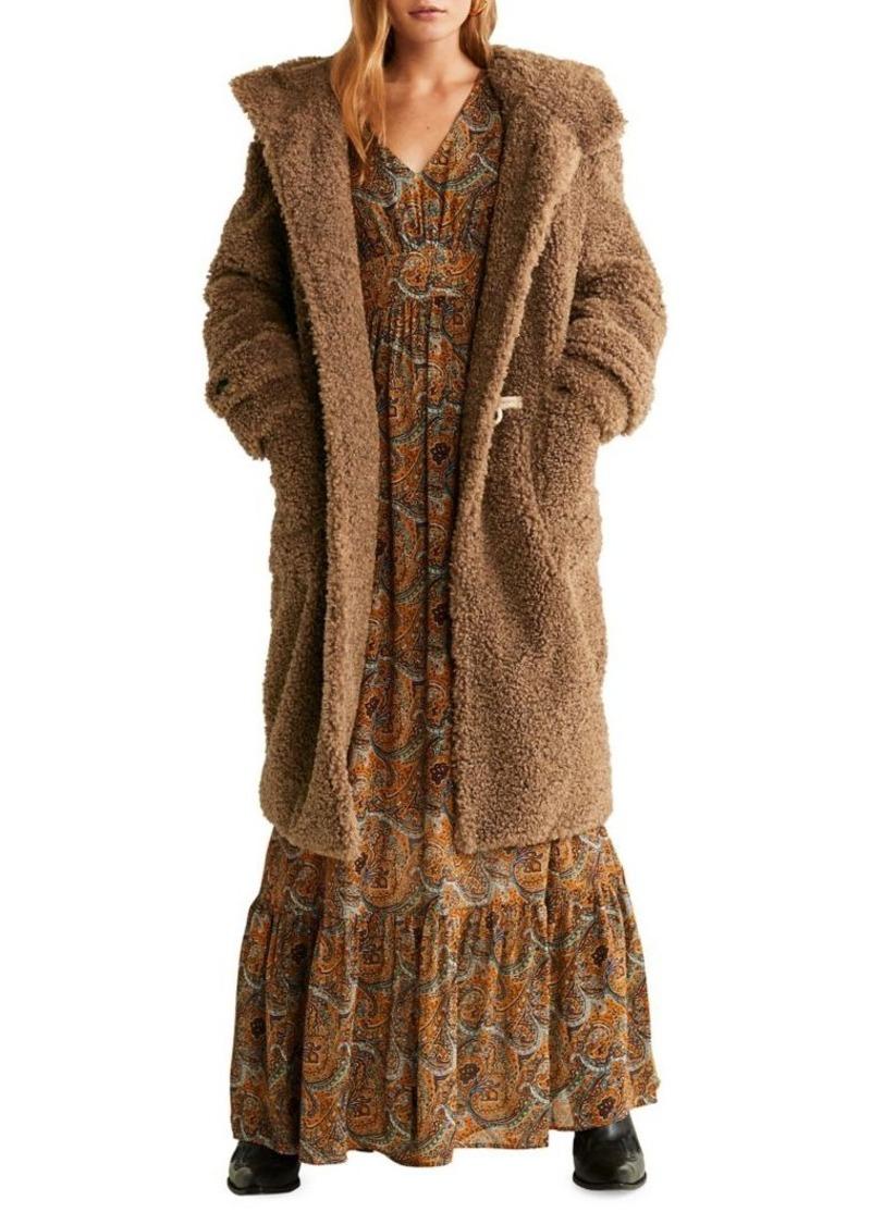 Mango Faux Shearling Long Hooded Coat