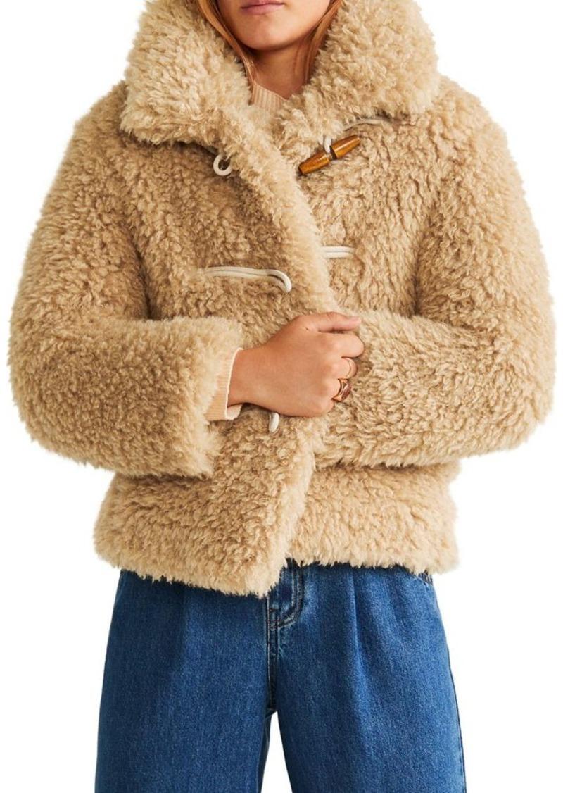 Mango Faux Shearling Long-Sleeve Jacket