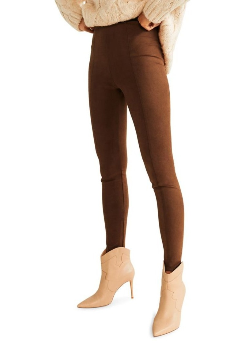 Mango Faux Suede Leggings