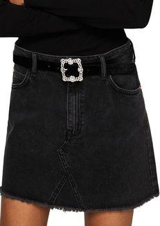 Mango Frayed Denim Skirt