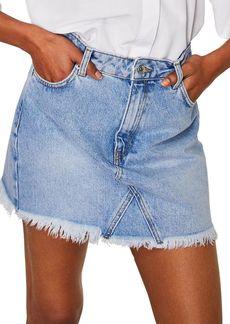 Mango Frayed Hem Denim Mini Skirt