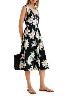 Mango Gardenia Floral Cotton Midi Dress