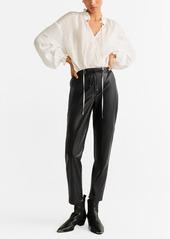 Mango High-Waist Faux Leather Trousers