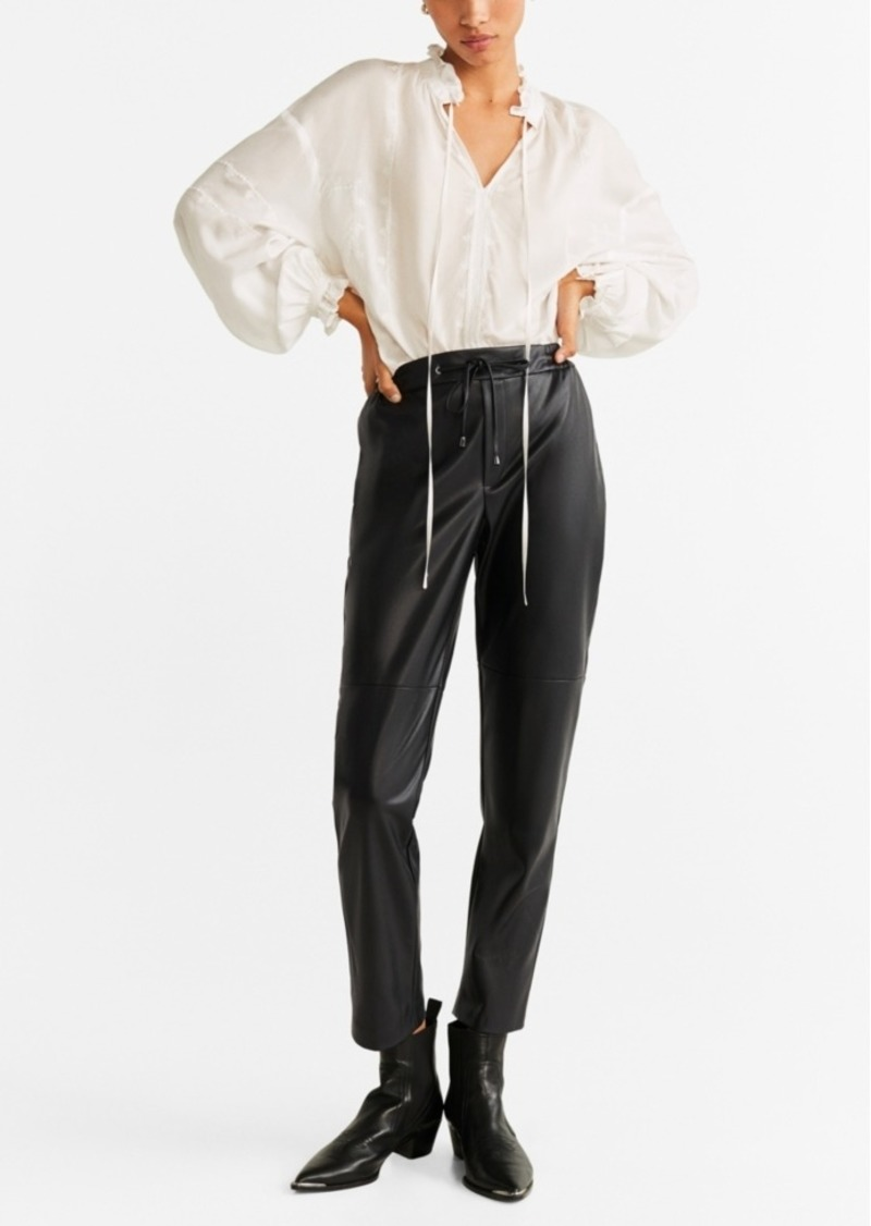 Mango High-Waist Faux Leather Trousers