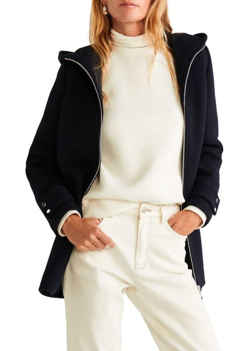 Mango Hooded Zip-Front Wool-Blend Coat