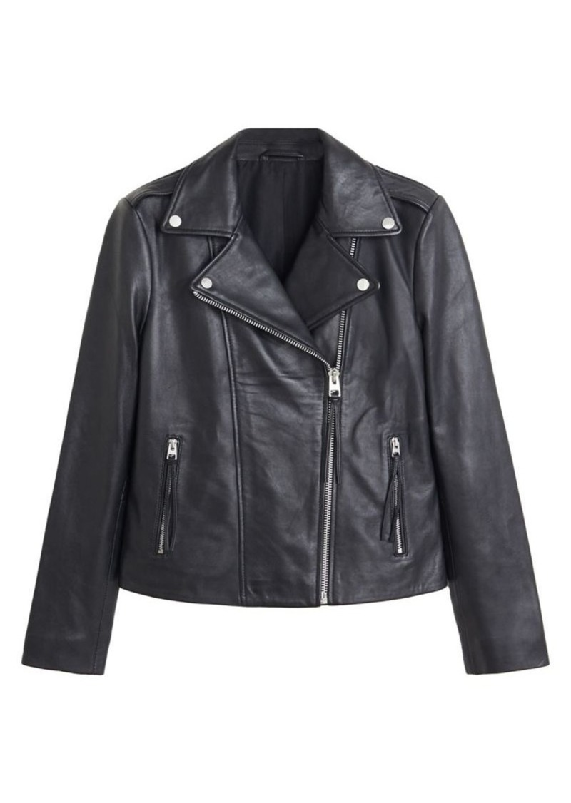 Mango Notch Collar Leather Biker Jacket