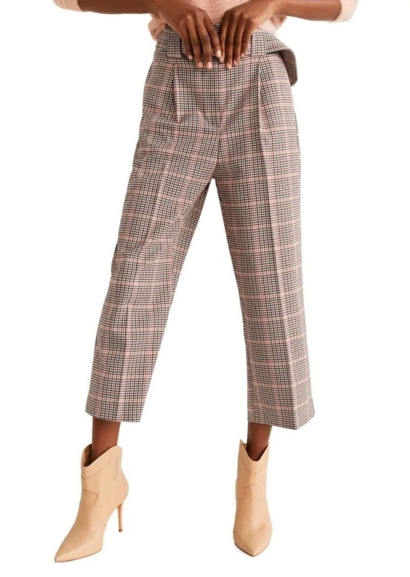 Mango Plaid Cropped Trousers