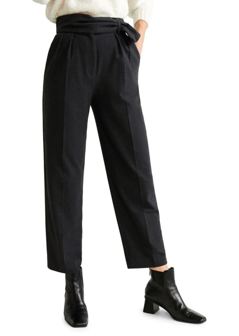 Mango Pleated Tie-Waist Pants