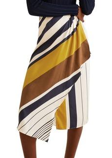 Mango Printed Striped Midi Skirt