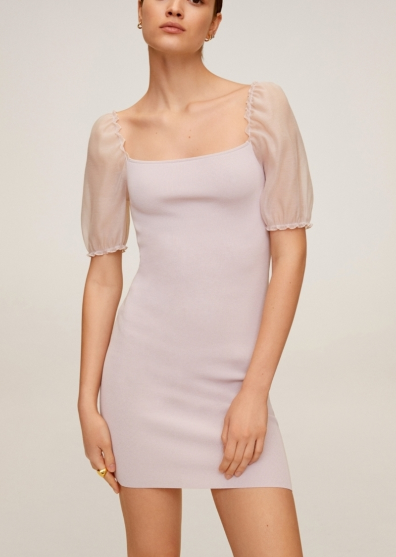 Mango Puffed Sleeve Knit Dress