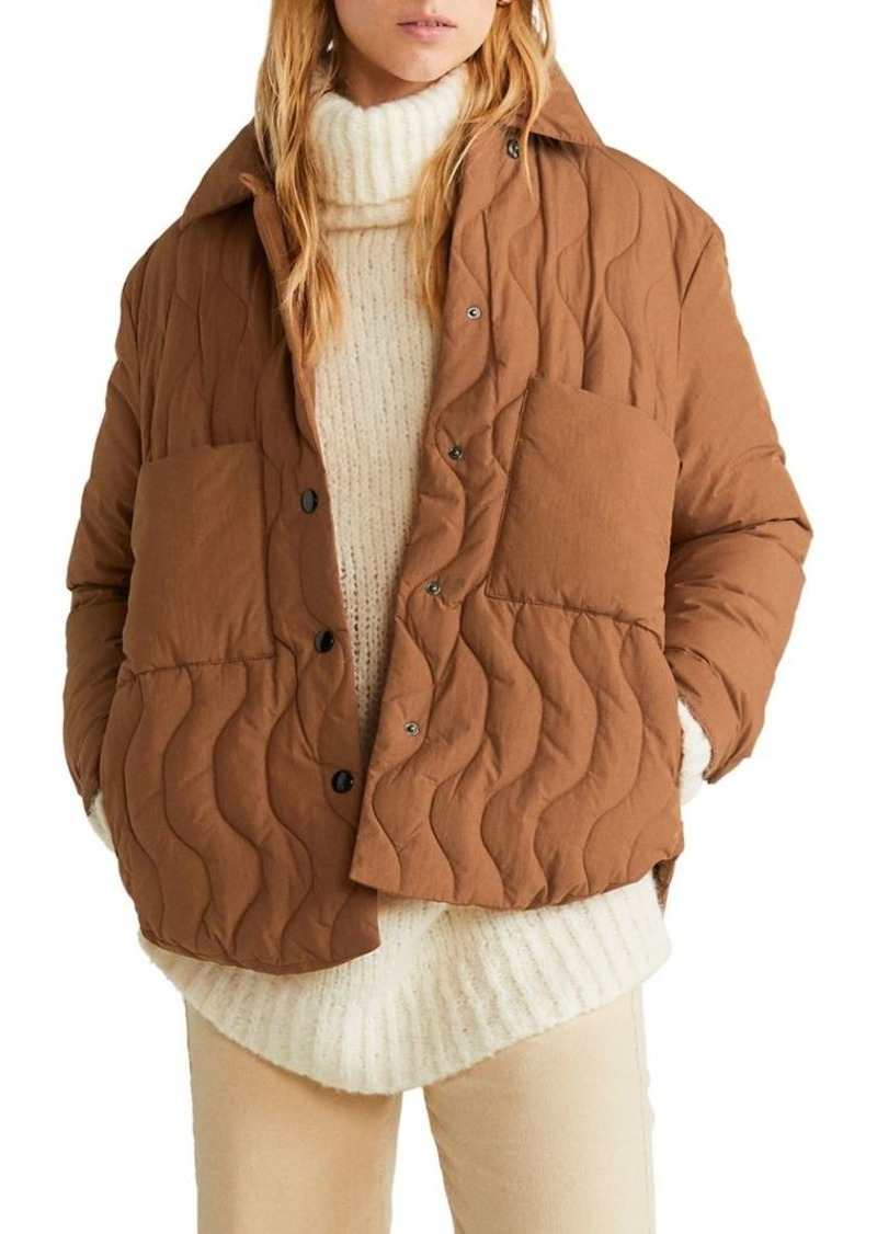 Mango Quilted Cotton-Blend Coat