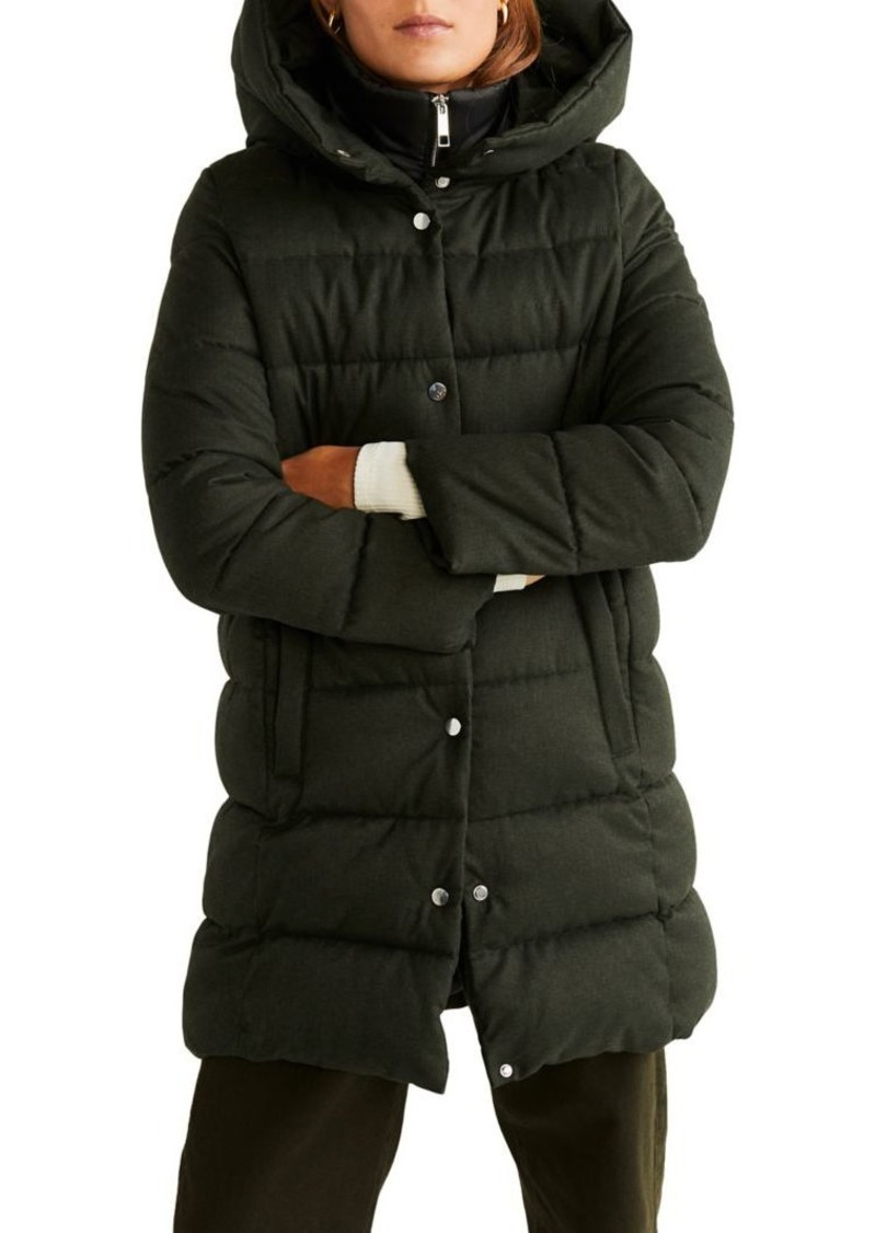 Mango Puffer Hooded Coat