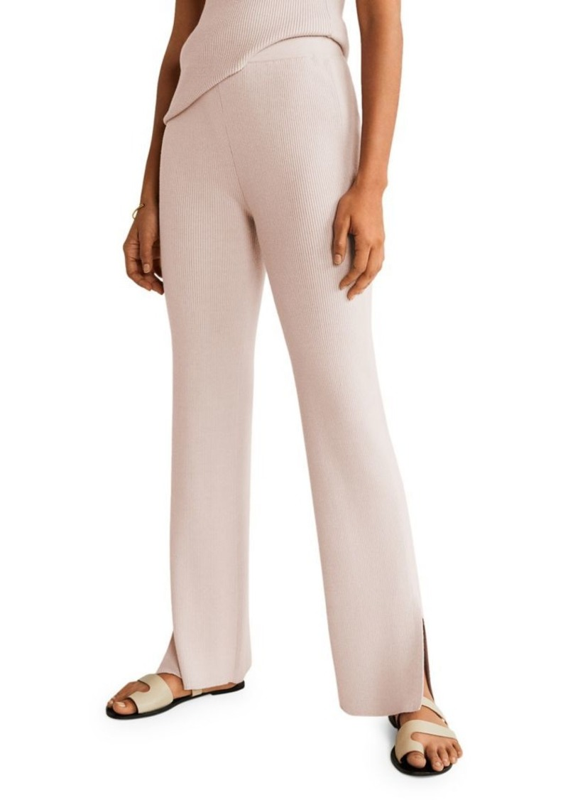 Mango Ribbed Straight Trousers
