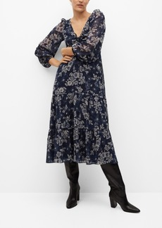 Mango Ruched Detail Flower Dress