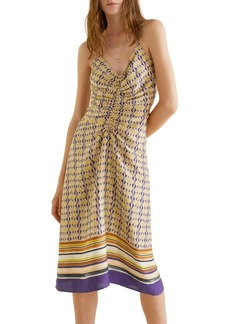 Mango Scarf Print Midi Dress