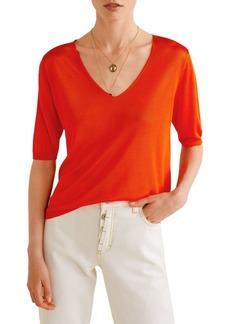 Mango Short-Sleeve Ridge-Trimmed Sweater
