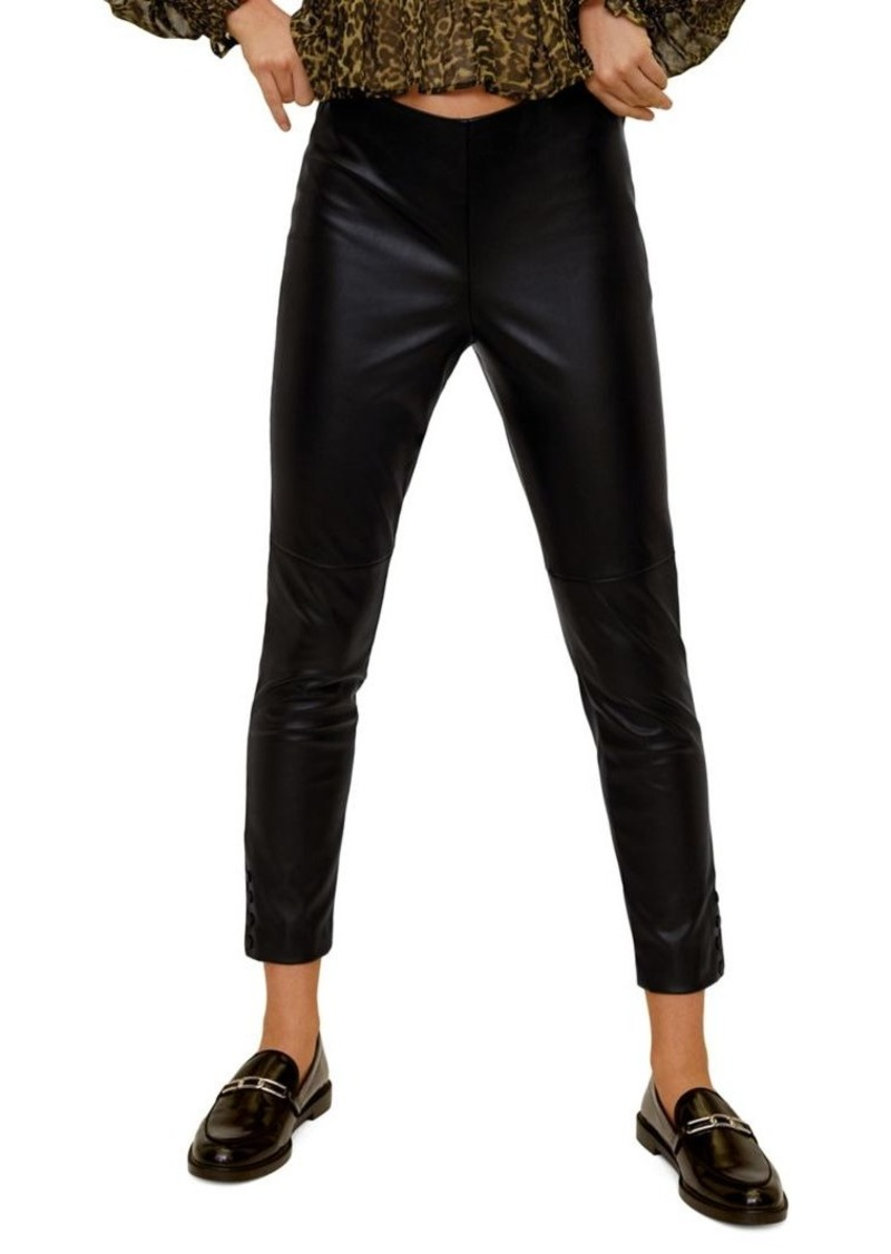 Mango Skinny-Fit Faux Leather Cropped Trousers