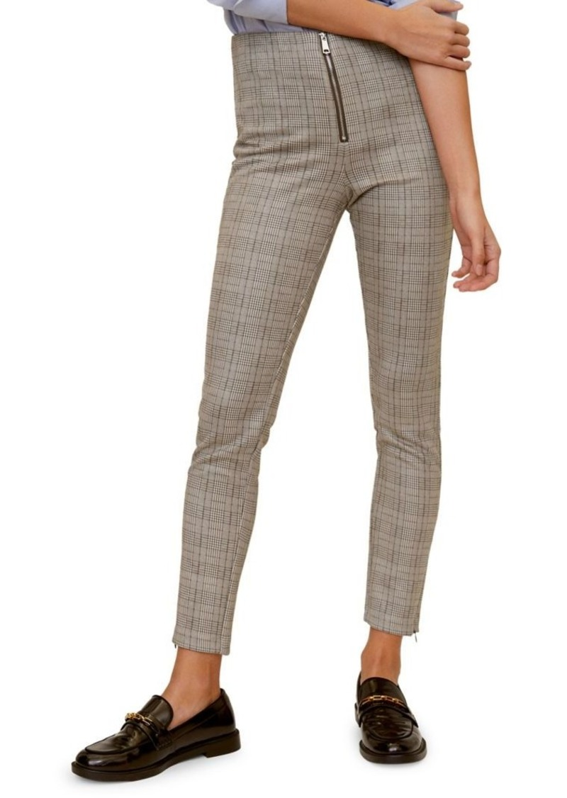 Mango Slim-Fit Checkered Trousers