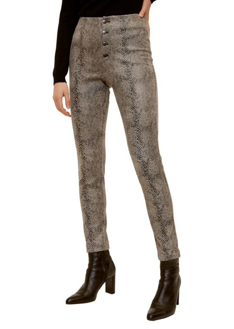 Mango Snakeskin-Print Skinny-Fit High-Waist Pants