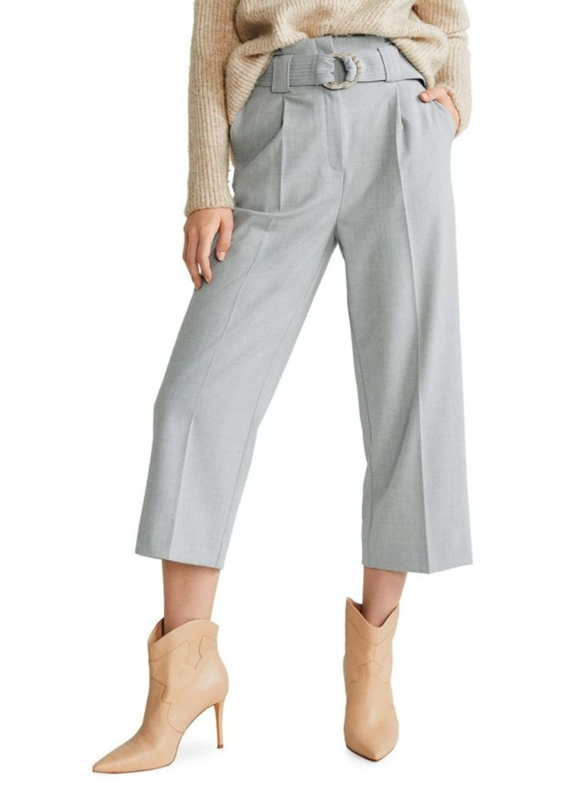 Mango Straight-Fit Belted Trousers