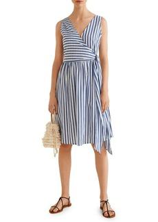 Mango Striped Wrap Cotton Shift Dress