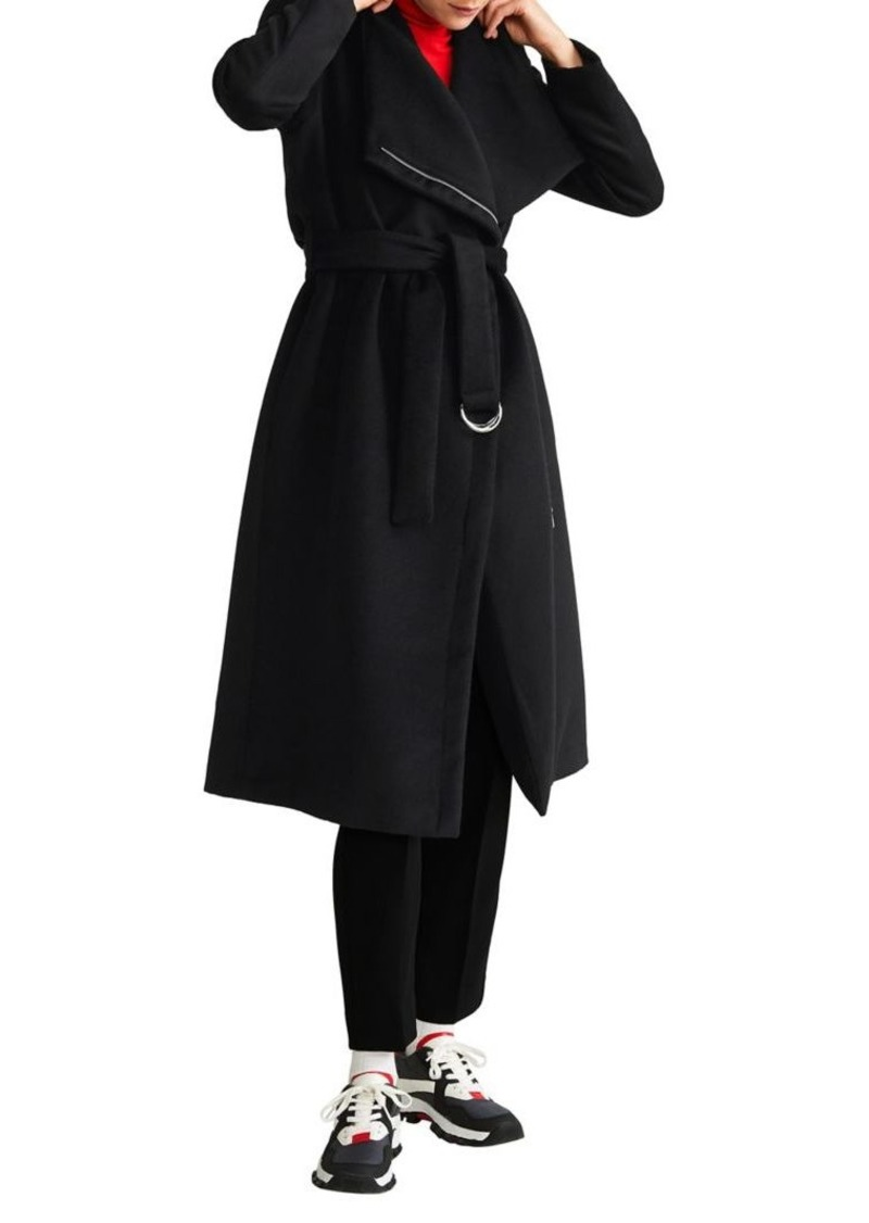 Mango Unstructured Belted Wool-Blend Coat
