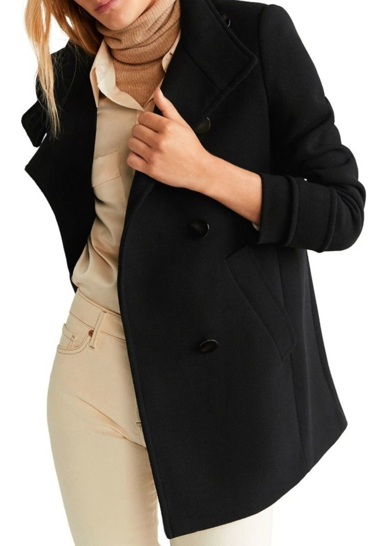 Mango Wool-Blend Button-Front Coat