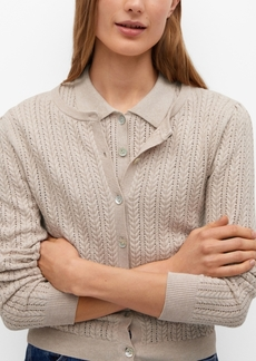 Mango Openwork Knit Cotton Cardigan