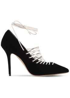 Manolo Blahnik 105mm Gregoria Velvet Lace-up Pumps