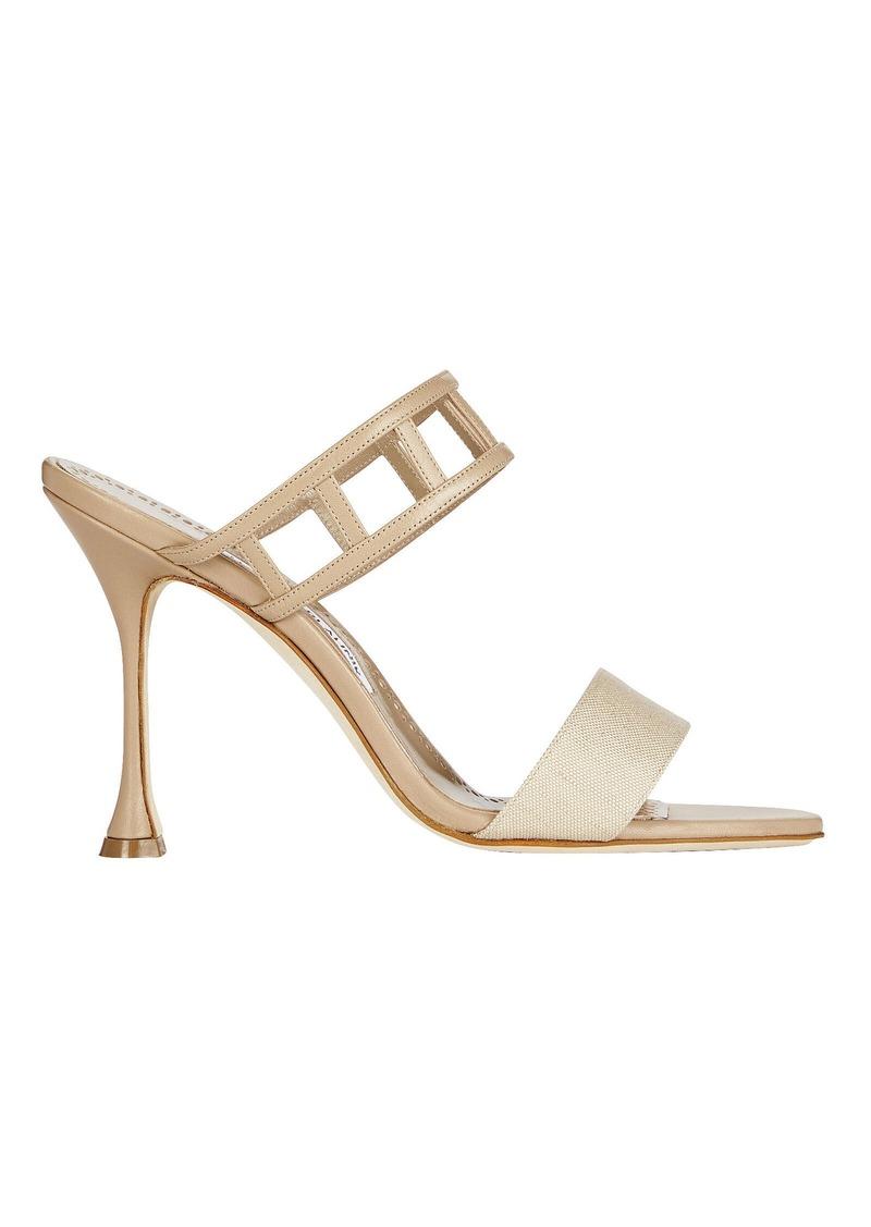 Manolo Blahnik Abey Cut-Out Leather Sandals